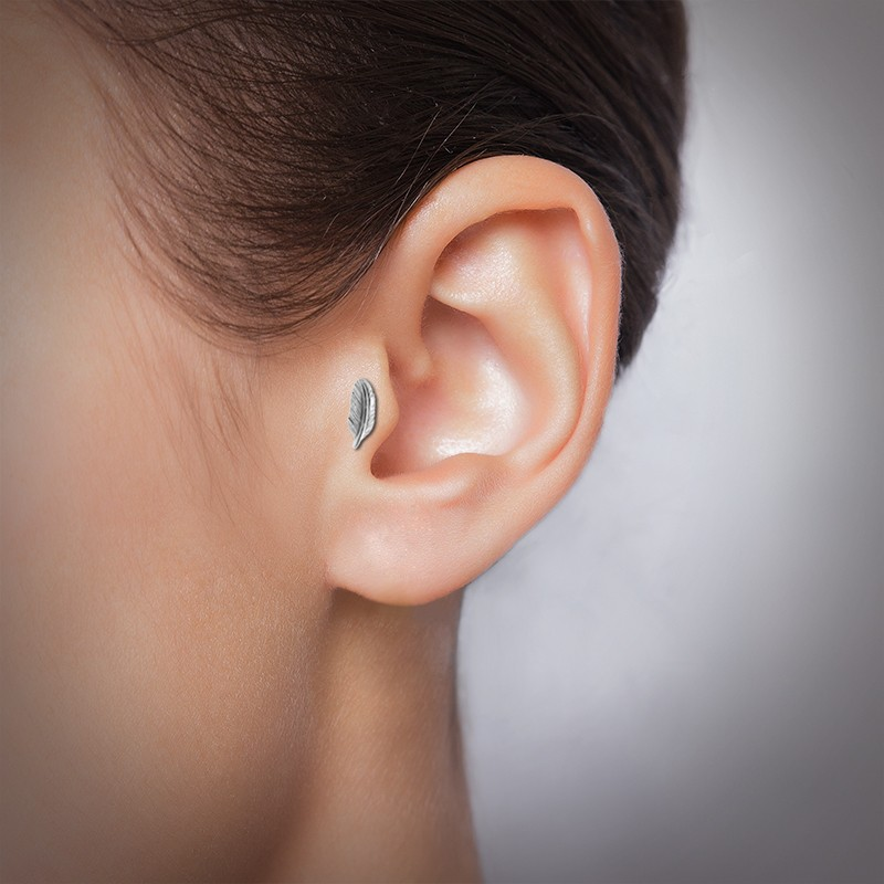 Piercing tragus plume clipable en acier chirurgical