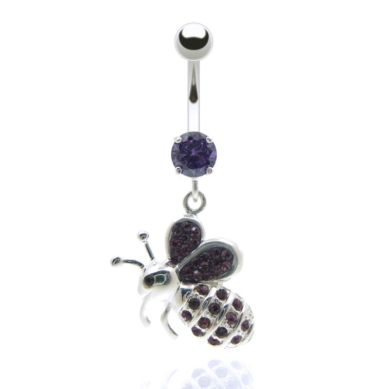 piercing nombril pendentif abeille acier et brillants violet. Black Bedroom Furniture Sets. Home Design Ideas