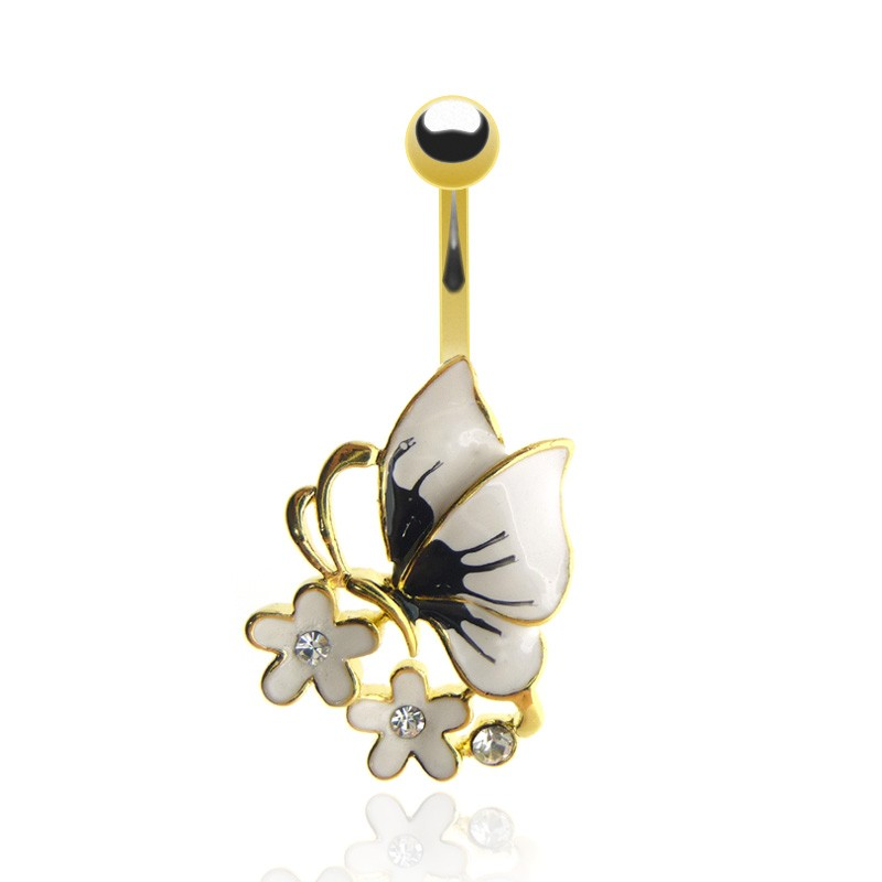 Bijou piercing nombril papillon plaqué or