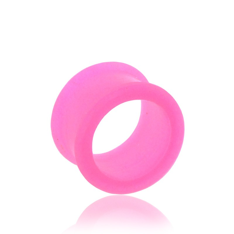 Tunnel oreille silicone rose fluo
