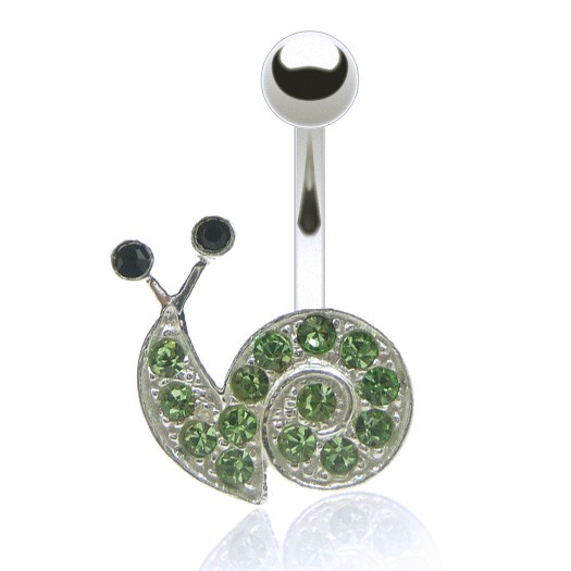 Piercing nombril escargot brillants de couleur
