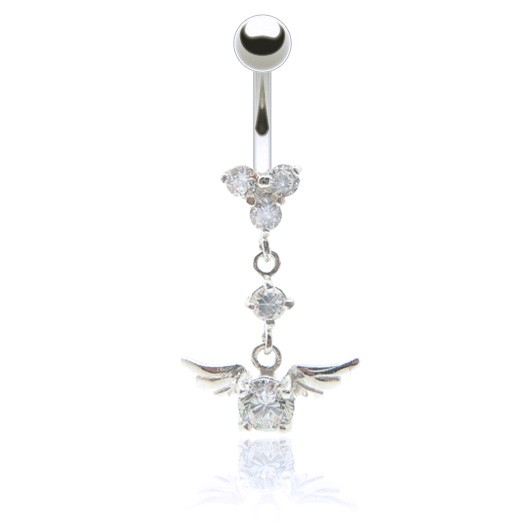 Bijou piercing nombril pendentif ailes et brillants blancs