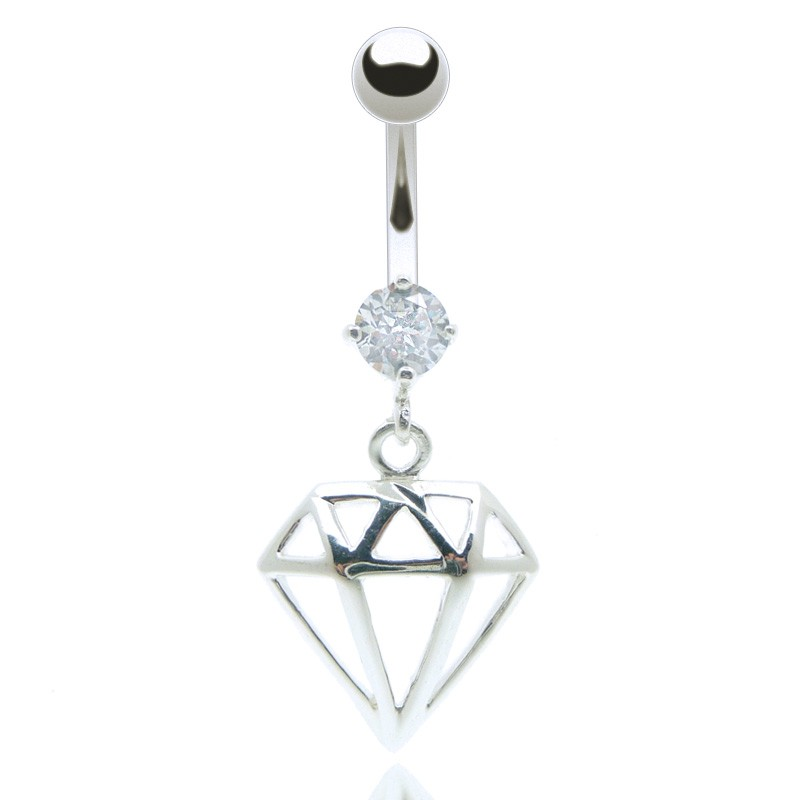 piercing nombril pendentif acier chirurgical avec diamant motif. Black Bedroom Furniture Sets. Home Design Ideas