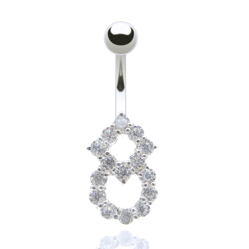 Bijou piercing nombril brillants carré et rond blanc