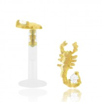 Piercing labret scorpion en or jaune