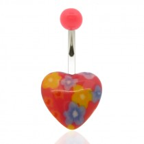 Piercing de nombril coeur en acrylique