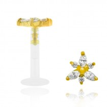 Piercing de cartilage en or jaune avec motif fleur et brillants