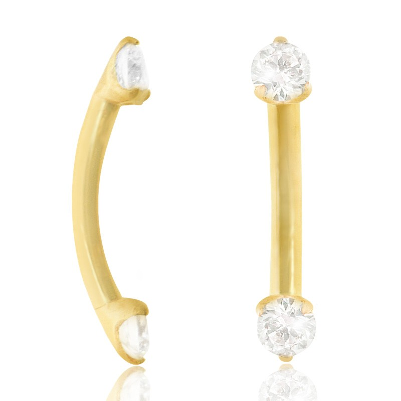 Piercing barre courbe (arcade, rook, daith) or jaune