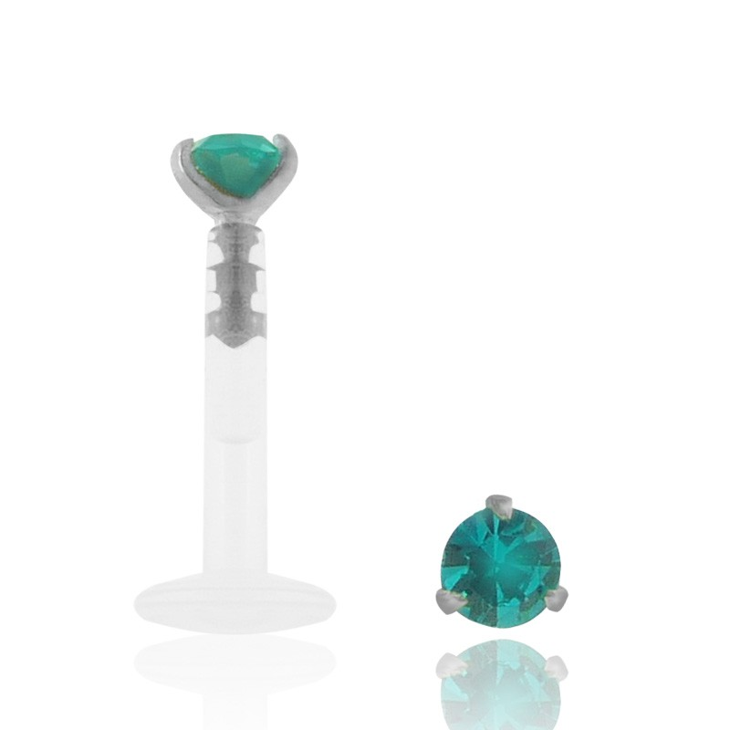 Piercing labret or blanc zircon turquoise