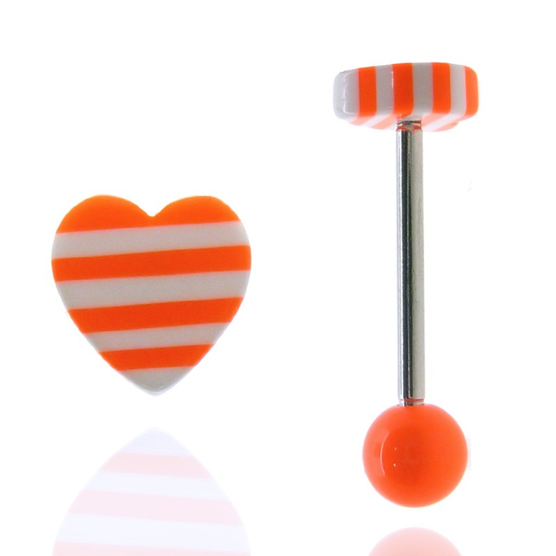 Piercing langue coeur orange fluo
