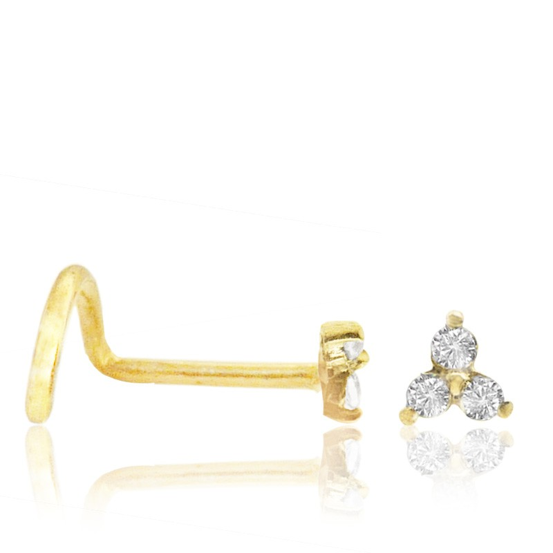 Piercing nez or jaune 3 brillants