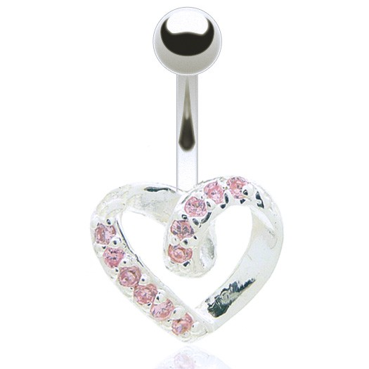 Piercing nombril coeur incrusté zirconium