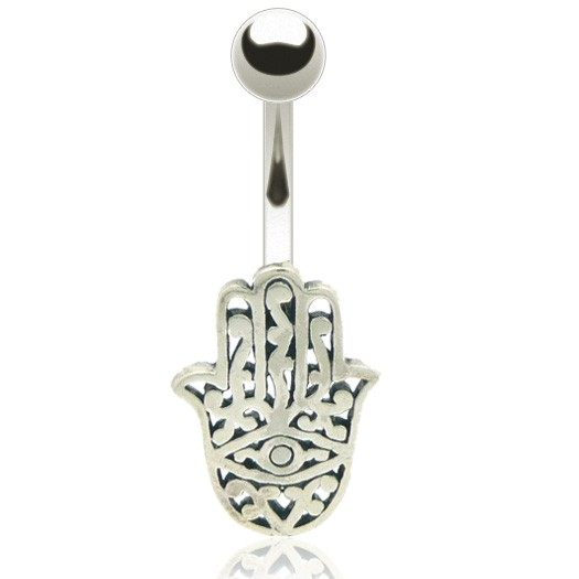Piercing nombril argent main de fatima