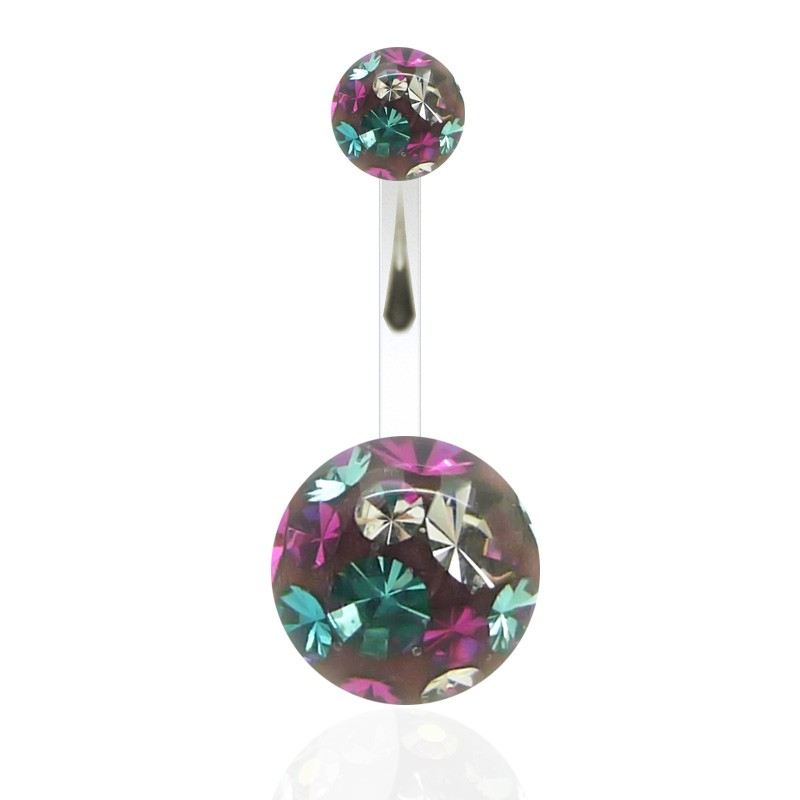 Piercing nombril cristal de swarovski multicolore (grand modèle)