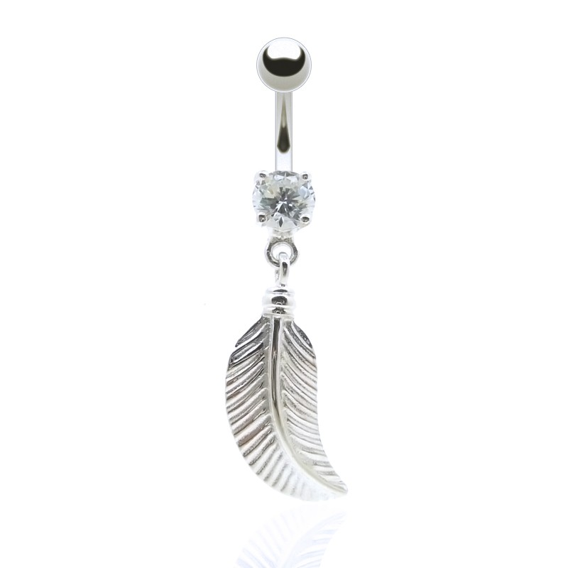 Piercing de nombril brillant avec plume